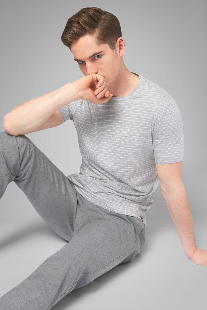 T-Shirt Grau Aus Baumwolljersey Und Tencel, Grau, hi-res