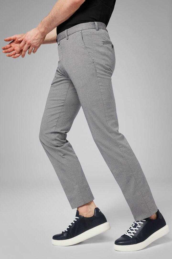 Pantalone In Cotone Microstruttura Stretch Slim, Grigio - Antracite, hi-res