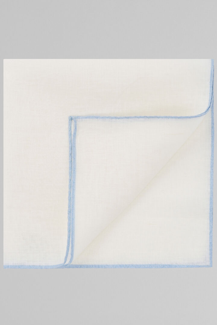 White Pure Linen Pocket Square With Sky Blue Border, White - Light blue, hi-res