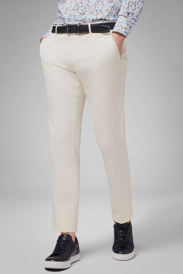 Pantalone In Gabardina Di Cotone Tencel Regular, Panna, hi-res