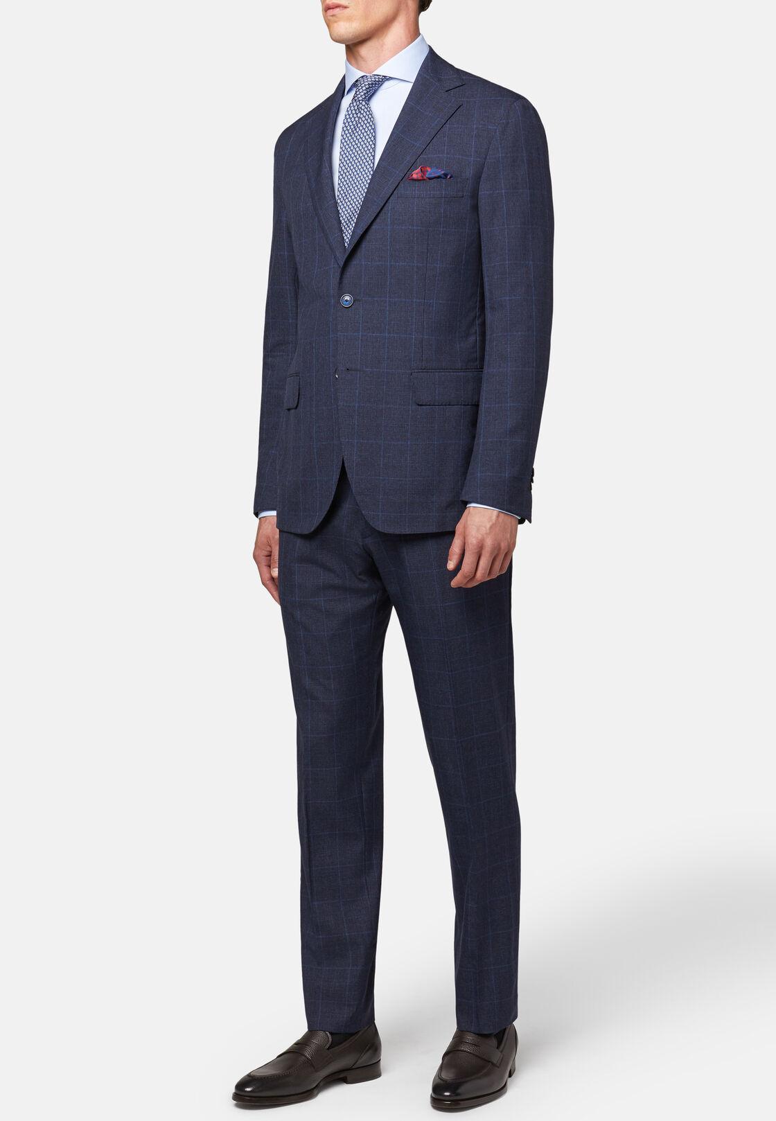 Blauer anzug mit prince of wales-karos aus wolle, Blau, hi-res