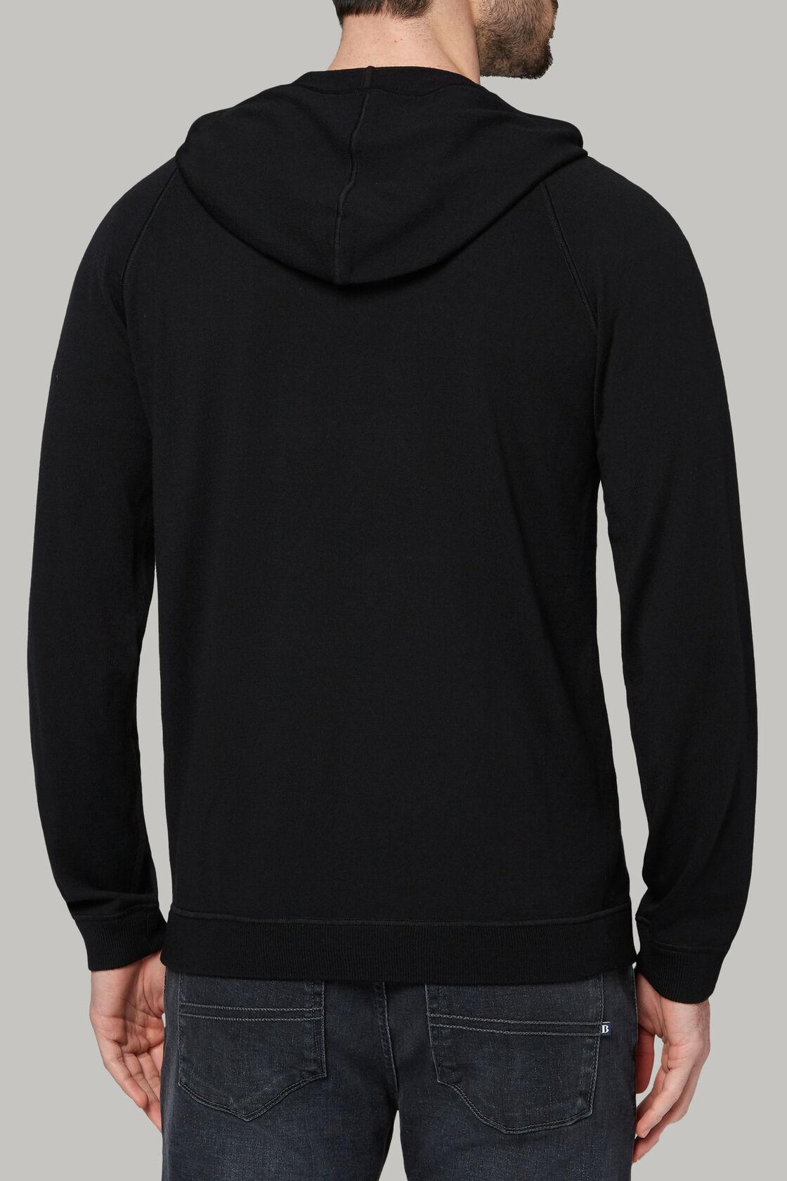 Schwarzer pullover mit durchgehendem reissverschluss und kapuze aus wolle, Schwarz, hi-res