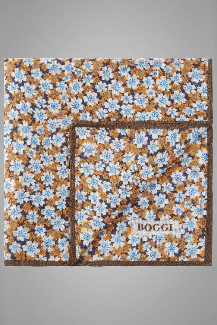 Bedrucktes Einstecktuch Aus Leinen Mit Blumenmuster, Orange, hi-res