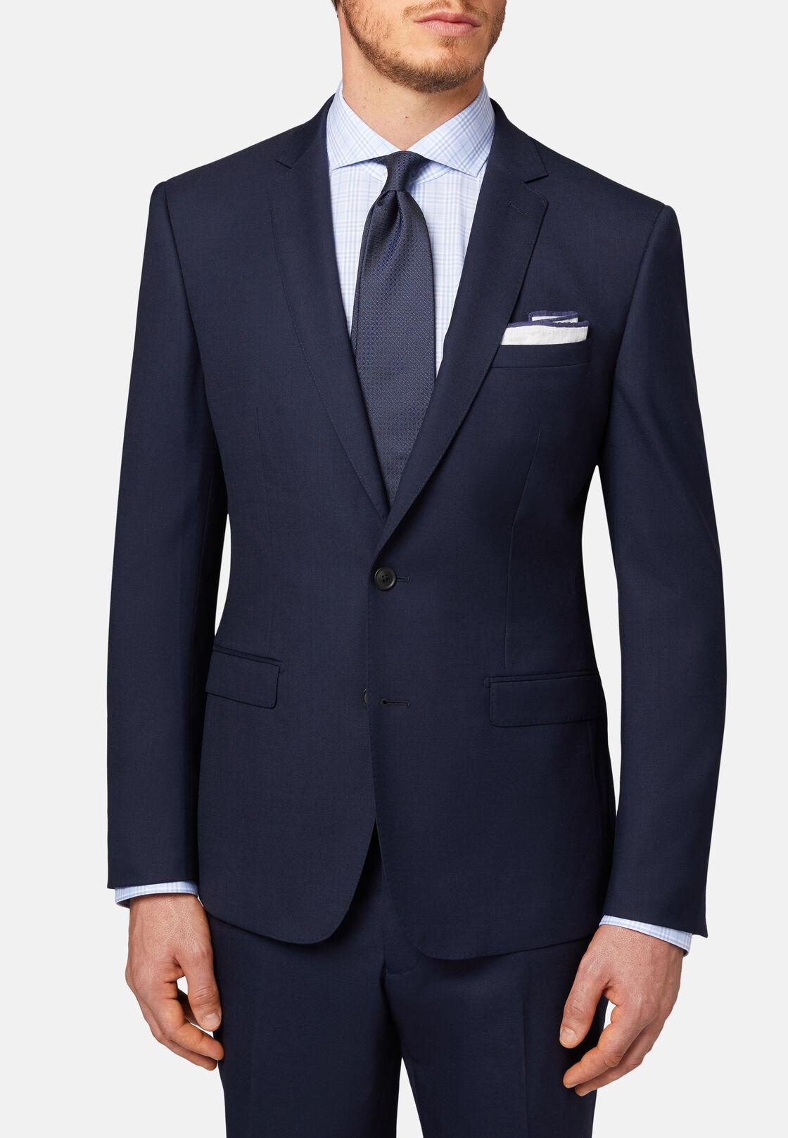 Blauer anzug aus elastischer wolle, Navy blau, hi-res