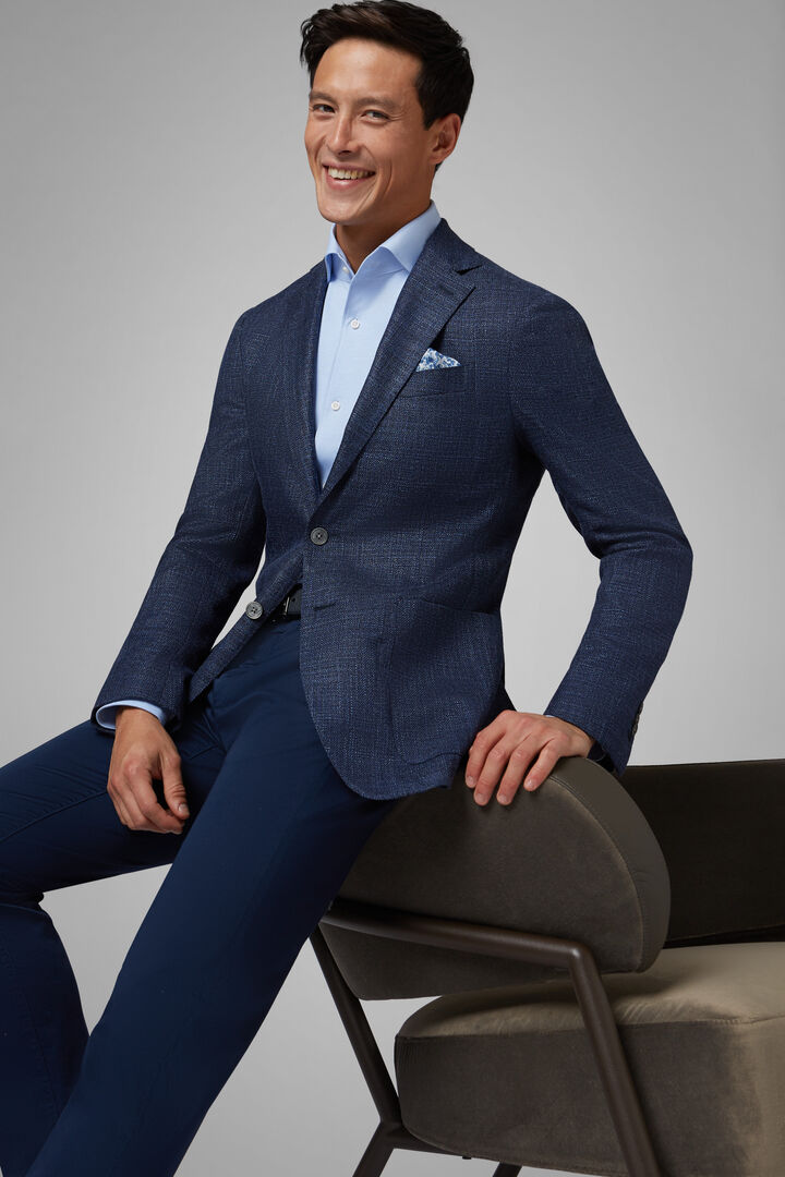 Blue Wool/Silk Roma Blazer, Blue, hi-res