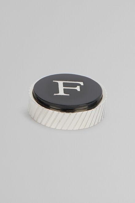 Gemello In Metallo Lettera F, Nero, hi-res