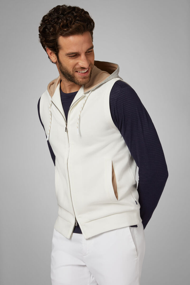Sleeveless Hooded Sweatshirt In Stretch Cotton, White, hi-res