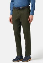 Pantaloni in cotone tencel elasticizzato, Verde, hi-res