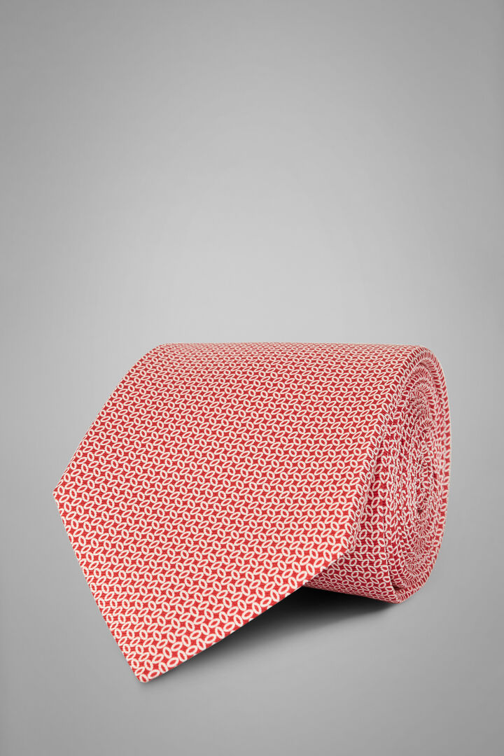 Micro Patterned Printed Silk Tie, Red, hi-res
