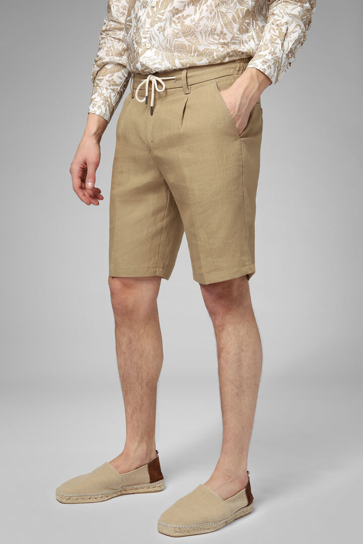 Plain Linen Bermuda Shorts With Drawcord, Beige, hi-res