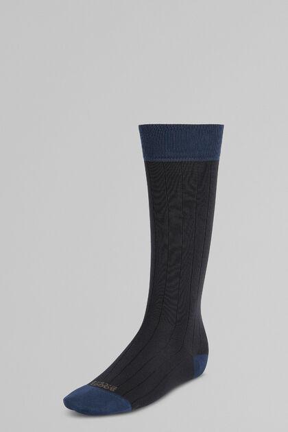 Chaussettes Longues Côtelées Avec Fil Performance, charbon, hi-res
