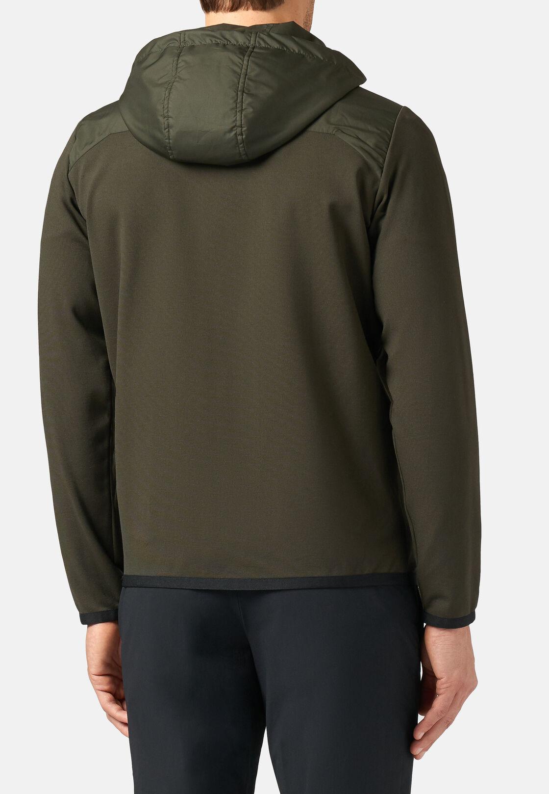 Sweatshirt mit durchgehendem reißverschluss und kapuze aus interlock, Militärgrün, hi-res