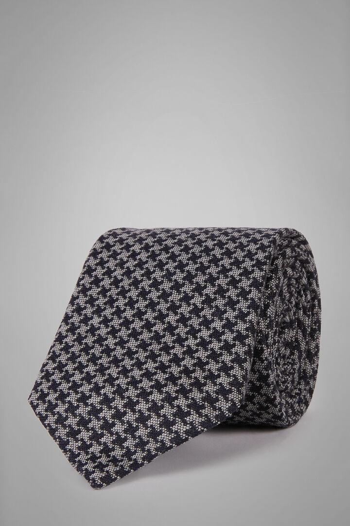 Krawatte Mit Hahnentritt-Muster Aus Wolle, Seide Und Jacquard, Grau Blau, hi-res