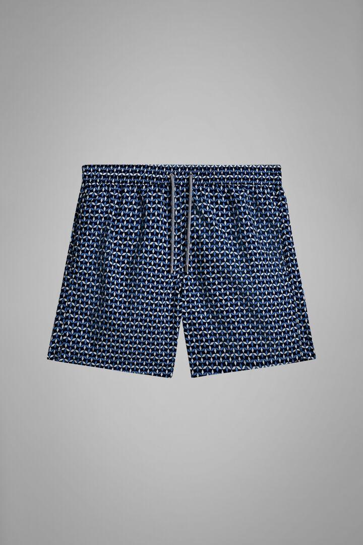 Badehose Mit Geometrischem Muster Origami Azurblau, Weiß - Hellblau, hi-res