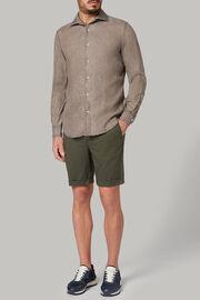 Dunkelbraunes hemd mit bowling-kragen aus leinen regular fit, Braun, hi-res