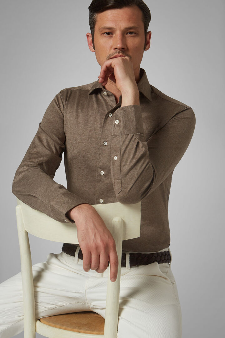 Polo Camicia Beige Collo Chiuso Slim Fit, Beige, hi-res