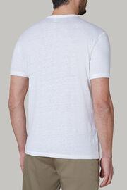 T-shirt aus elastischem leinenjersey, Weiß, hi-res