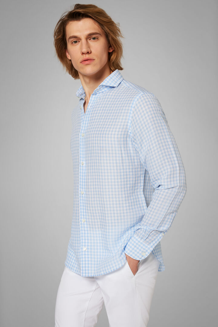 Regular Fit Sky Blue Gingham Shirt With Open Collar, Light blue, hi-res