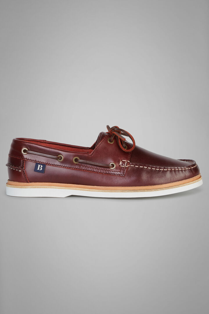 Leather Boat Shoe With Rubber Sole, Burgundy, hi-res