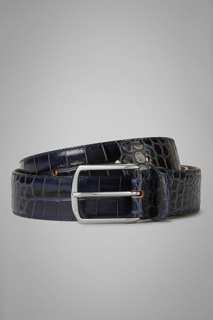 Cintura In Pelle Stampa Coccodrillo, Navy, hi-res