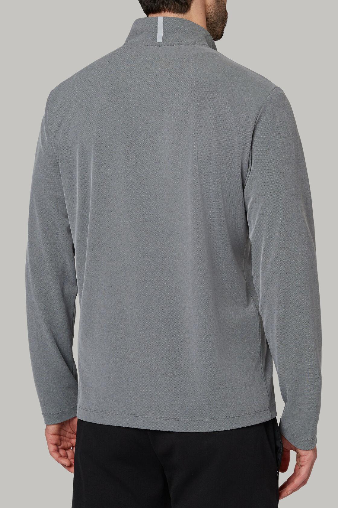 Sweatshirt mit halblangem reissverschluss aus technischem und hochwertigem piqué, Grau, hi-res