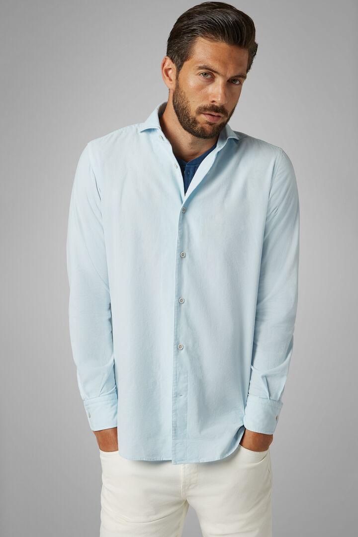 Regular Fit Sky Blue Velvet Shirt With Bowling Collar, Light blue, hi-res