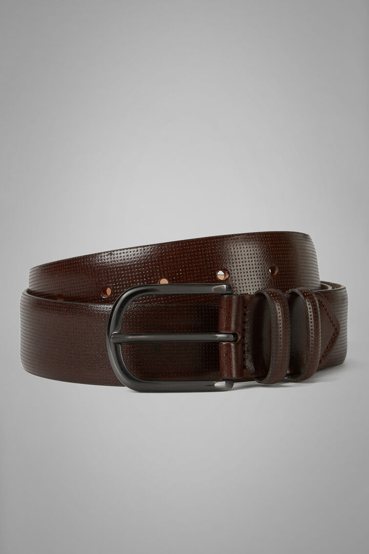 Micro Perforated Leather Belt, Dark brown, hi-res