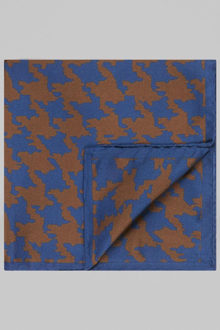 Macro Houndstooth Print Silk Pocket Square, , hi-res