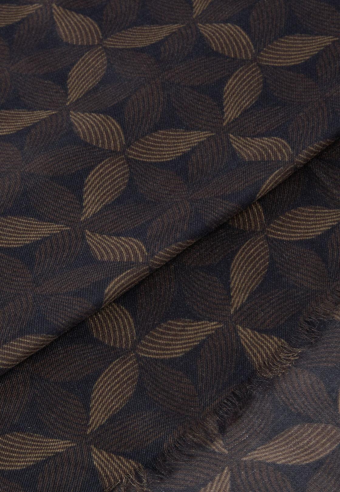 Schal modal kaschmir blätter-print, Braun, hi-res