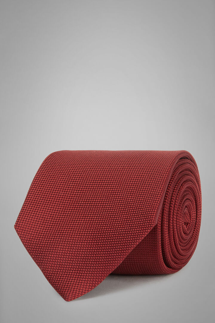 Micro Structured Silk Jacquard Tie, Burgundy, hi-res