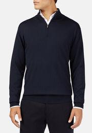 Marineblauer pullover mit halbem reißverschluss aus extrafeiner merinowolle, Navy blau, hi-res