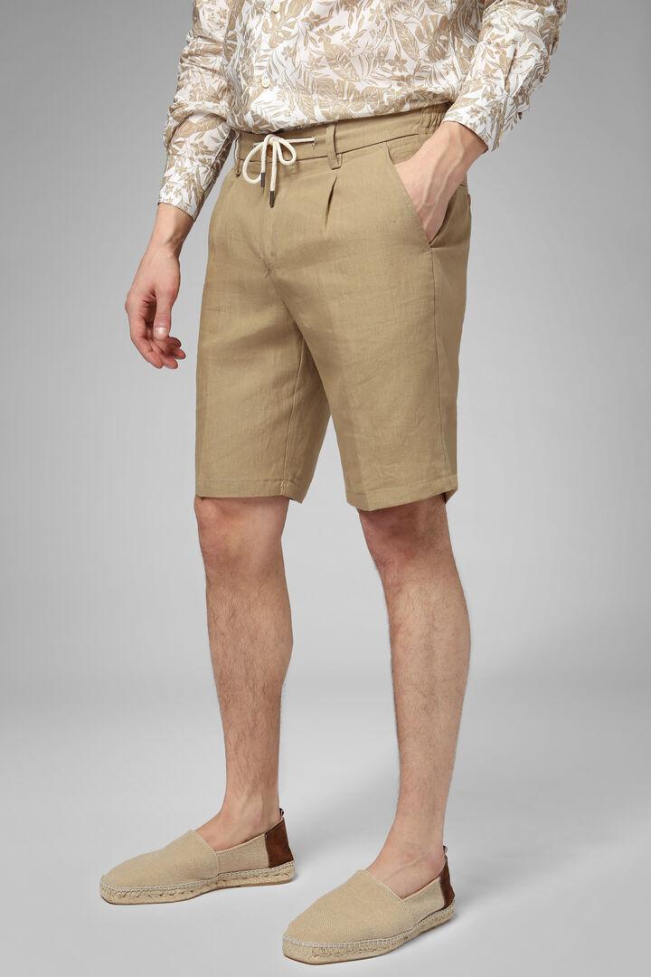 Plain Linen Bermuda Shorts With Drawcord, Beige, hi-res