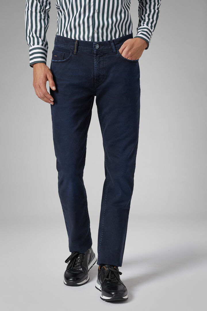 Regular Fit Stretch Cotton Bull Denim 5 Pocket Trousers, Navy blue, hi-res