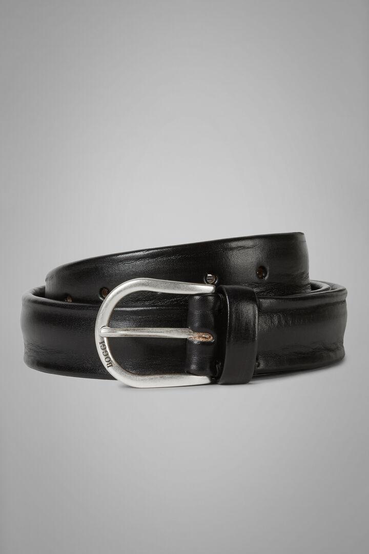 Hand-Dyed Leather Belt, Black, hi-res
