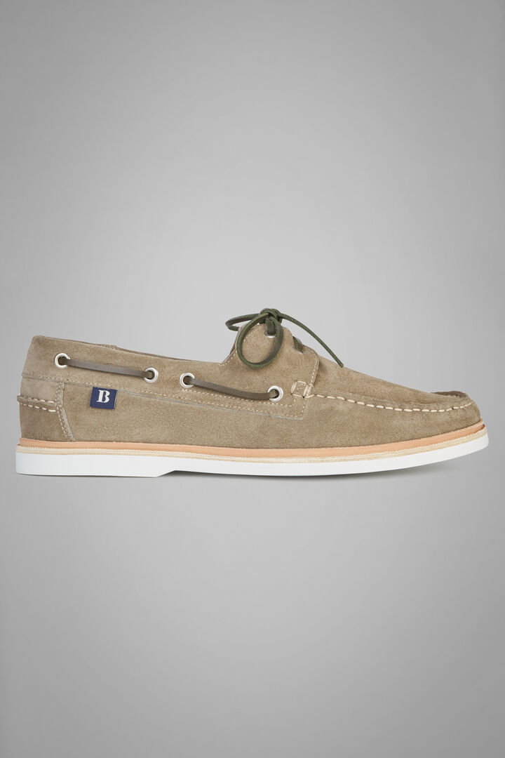 Suede Boat Shoe With Rubber Sole, Sage, hi-res