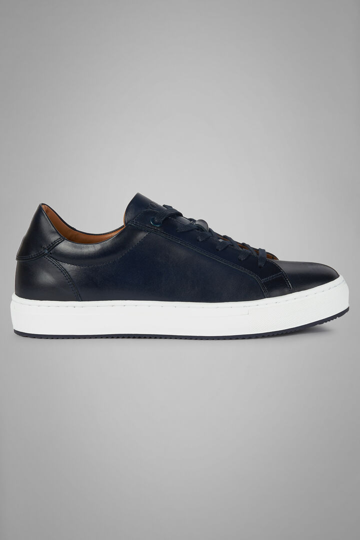 Sneaker Aus Glattleder, Navy blau, hi-res