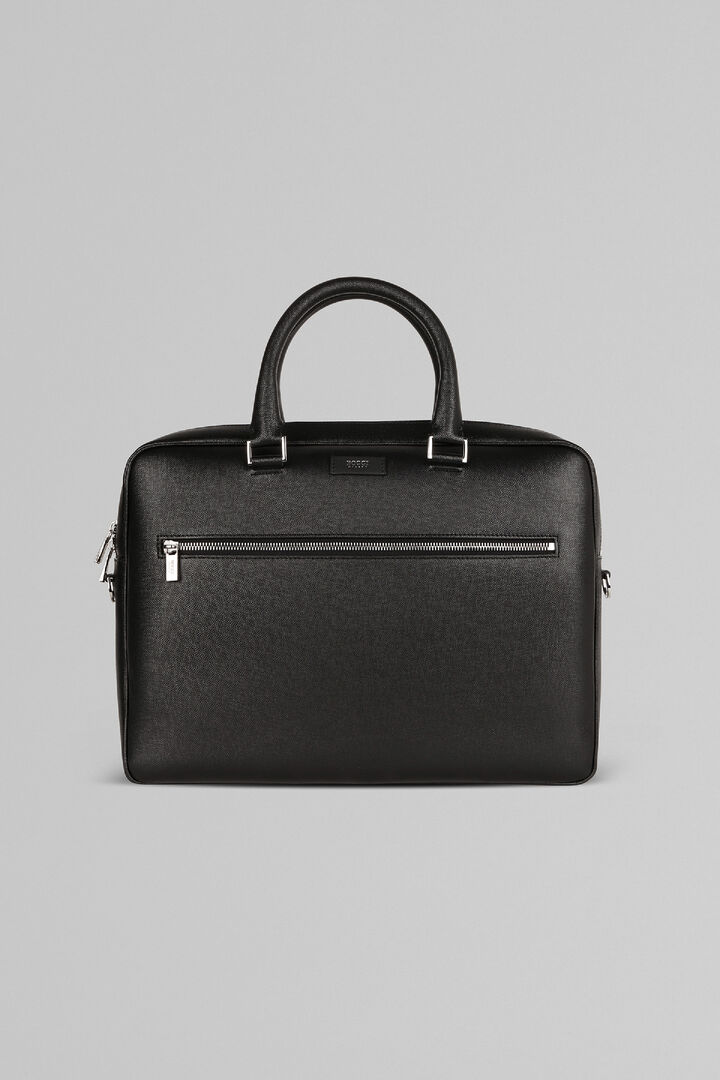 Caviar Print Leather Single-Zip Briefcase, Black, hi-res