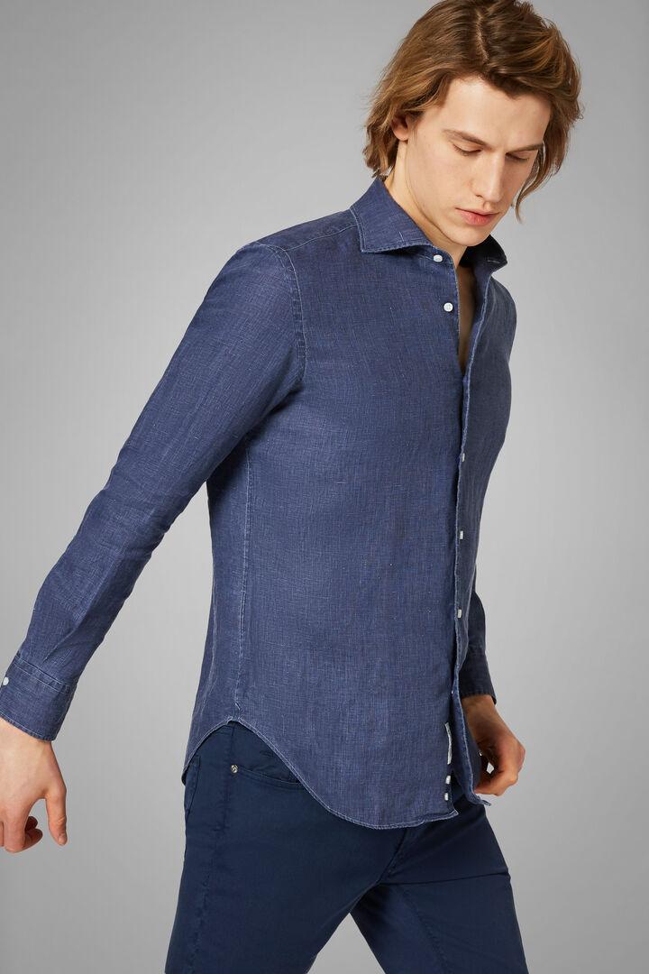 Hemd Navy Mit Bowling-Kragen Regular Fit, Navy blau, hi-res