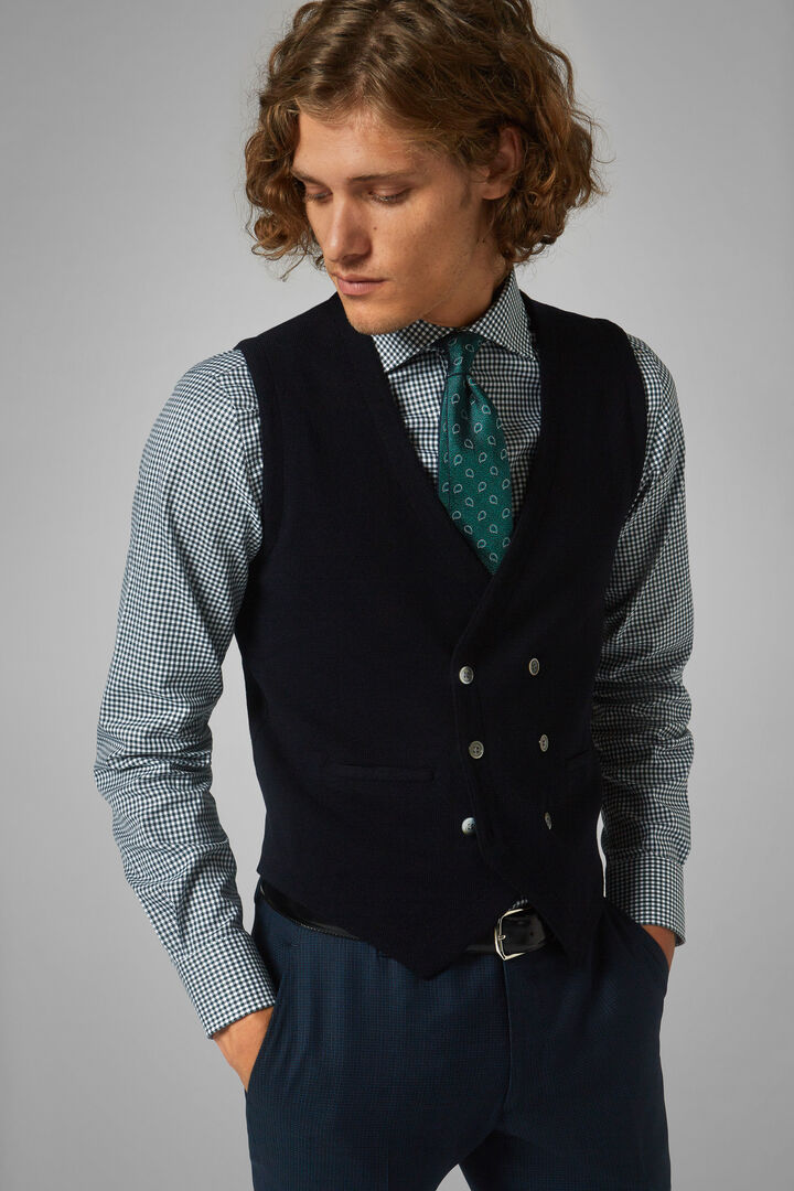 Double-Breasted Knitted Merino Wool Waistcoat, Navy blue, hi-res