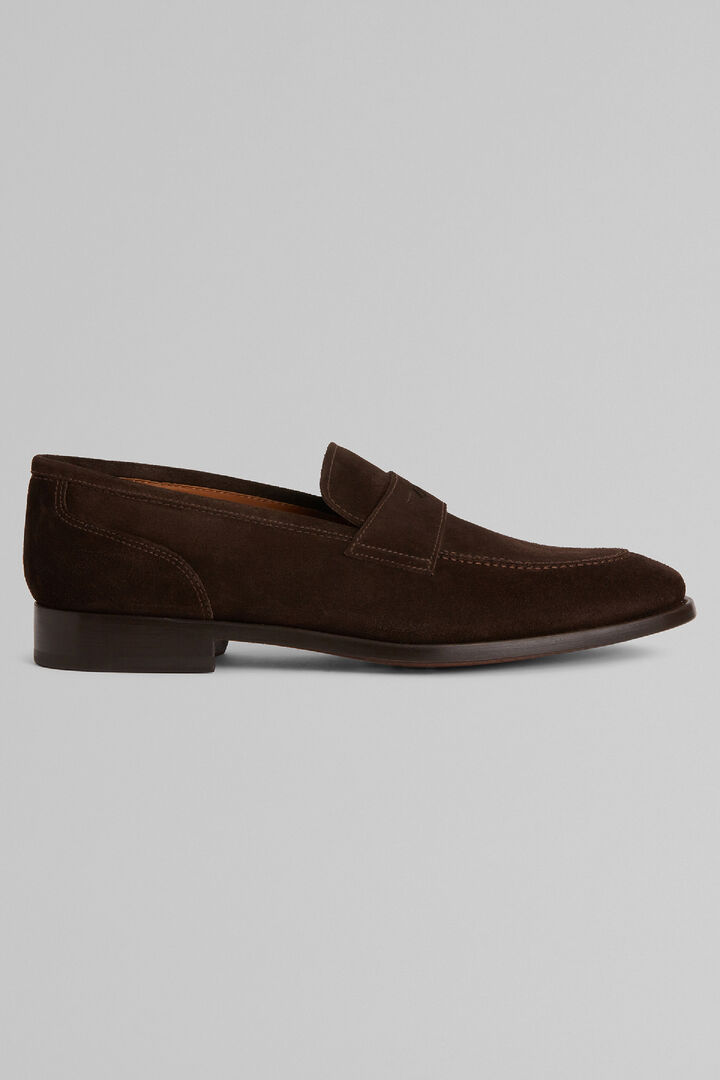 Suede Penny Loafers, Dark brown, hi-res