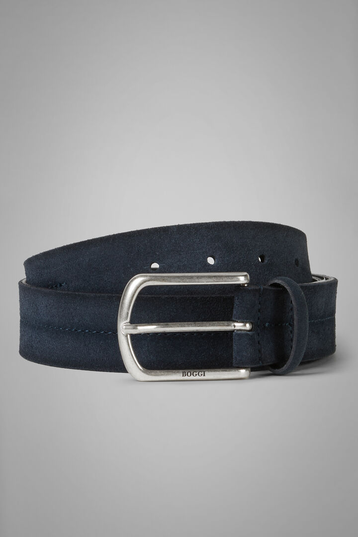 Suede Belt With Stamped Detail, Denim, hi-res