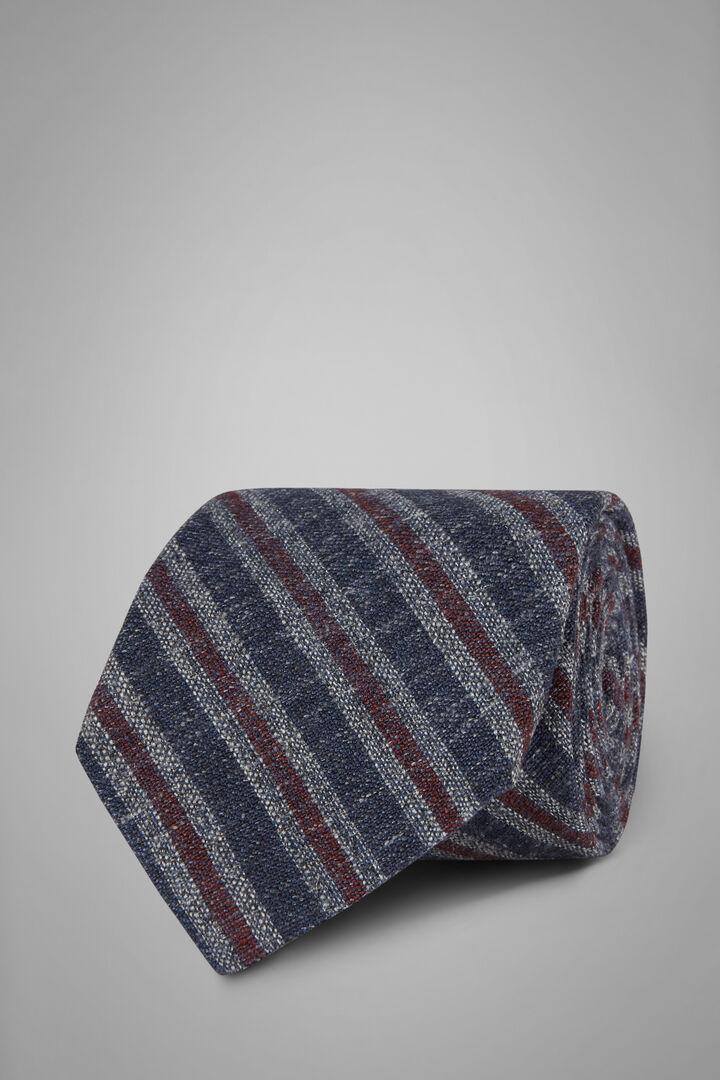Gemusterte Krawatte Aus Seide Und Leinen, Blau Rot, hi-res