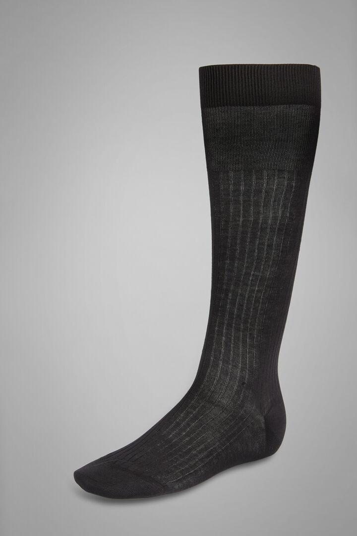 Ribbed Long Socks, Charcoal, hi-res