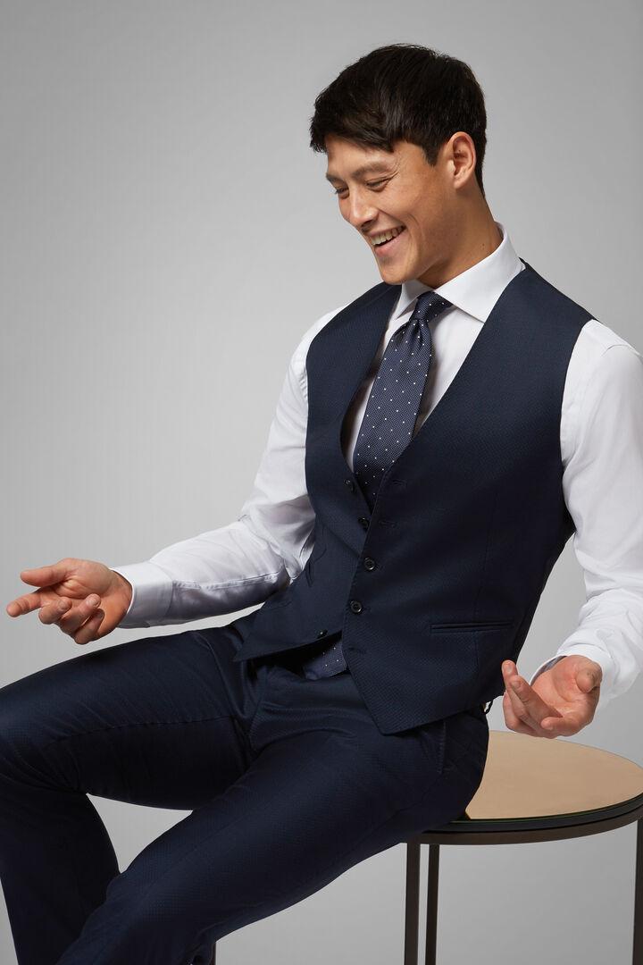 Polka Dot Stretch Wool Gilet, Blue, hi-res