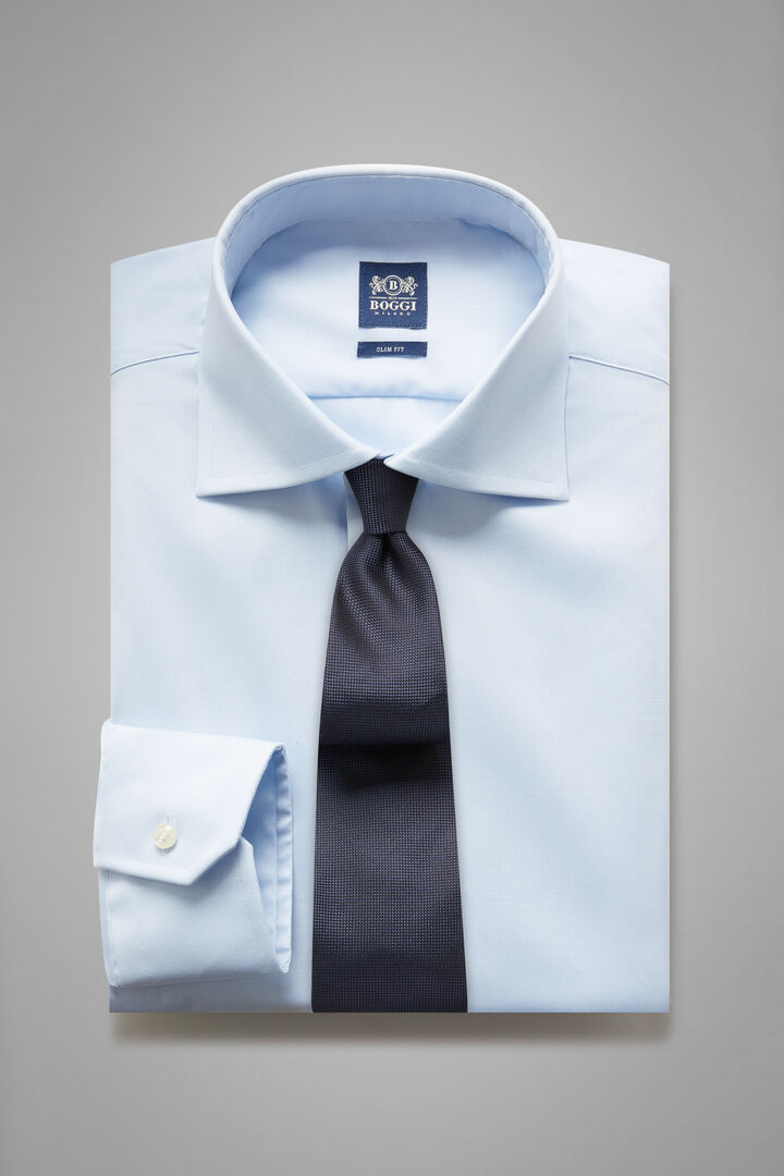 Slim Fit Light Blue Shirt With Windsor Collar, Light blue, hi-res