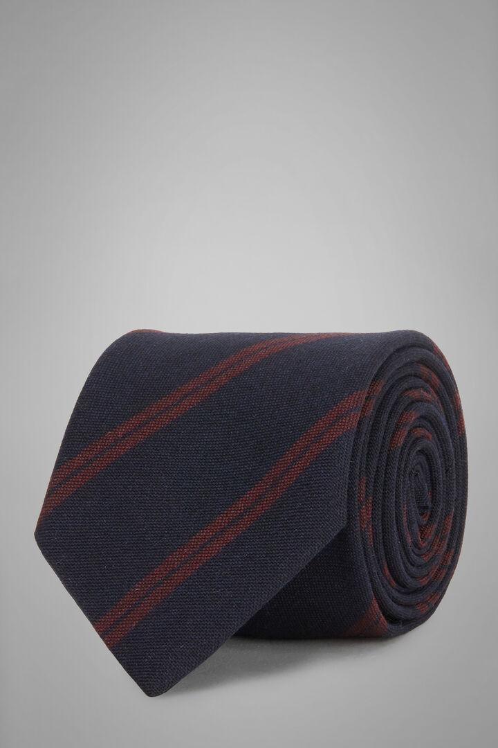 Gemusterte Krawatte Aus Wolle, Seide Und Jacquard, Navy - Burgund, hi-res