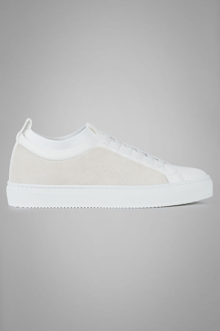 Suede And Jersey Trainers, White, hi-res