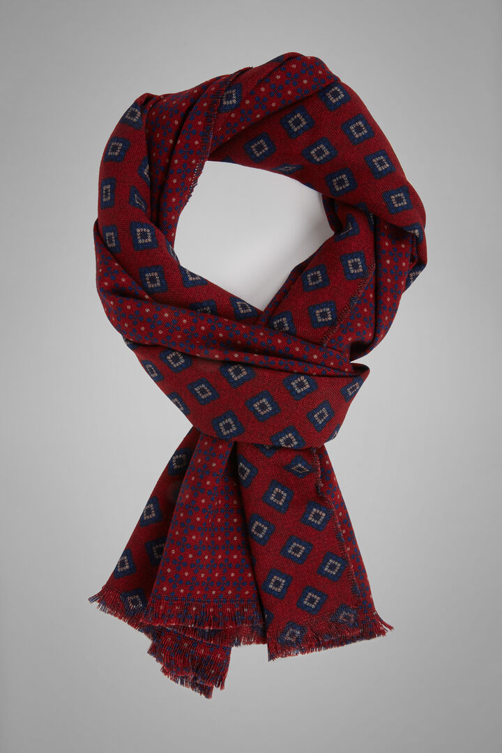 Reversible Micro Geometric Print Wool Scarf, Burgundy - Navy, hi-res
