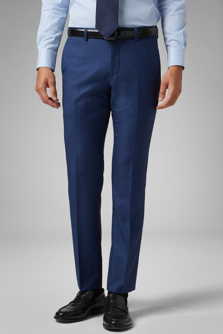 Slim Fit Blue Wool Suit Trousers, Blue, hi-res