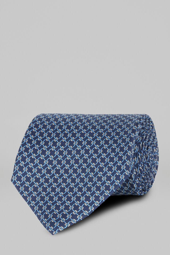 Cravate À Motifs Étrier En Soie Imprimée, Bleu - bleu clair, hi-res